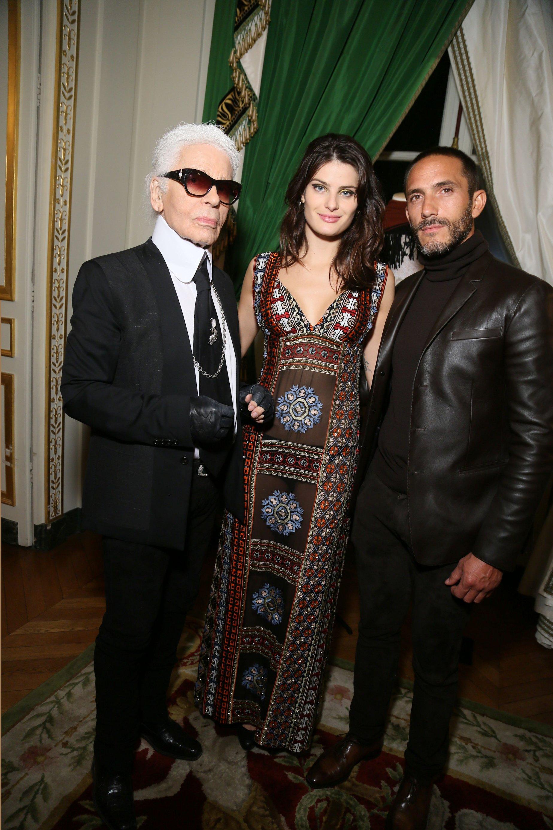 Karl Lagerfeld, Isabeli Fontana and Sebastien Jondeau attend Der Berliner Mode Salon